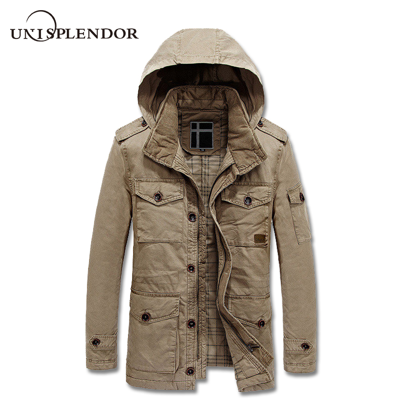 2018 Men Outwear Cargo Jacket Winter Autumn Man Thick Warm Coat Male Hooded Windbreaker Pockets Design Bomber Jackets YN10201