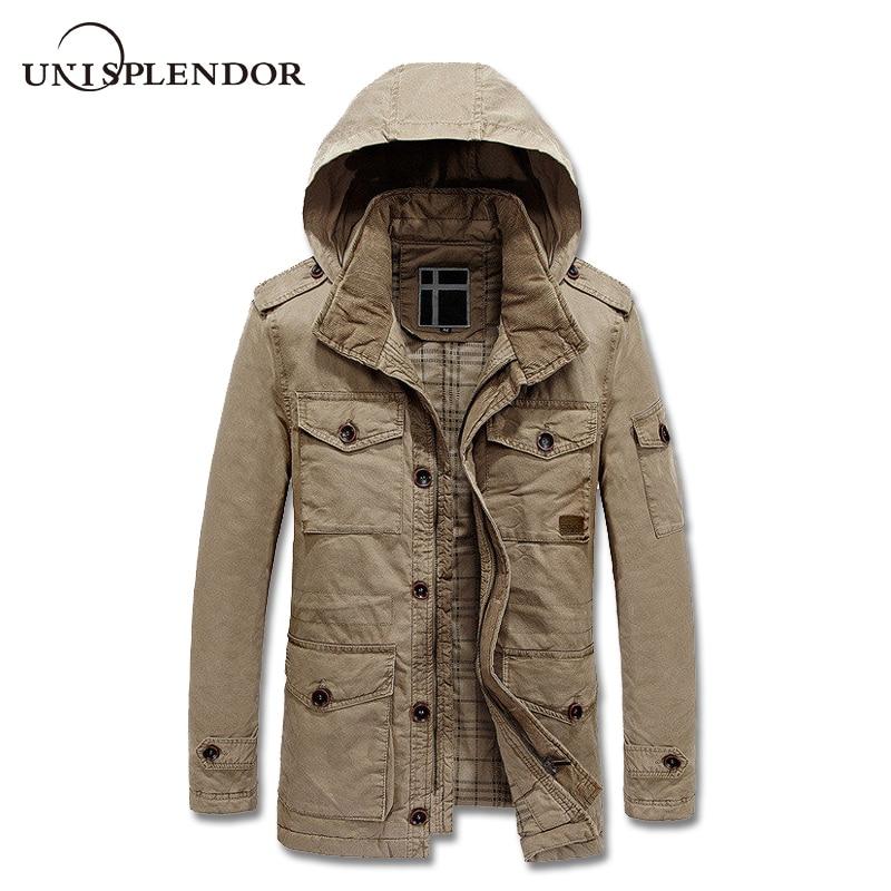 2018 Men Outwear Cargo Jacket Winter Autumn Man Thick Warm Coat Male Hooded Windbreaker Pockets Design Bomber Jackets YN10201