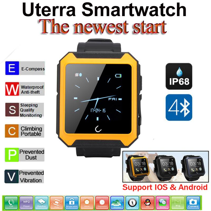 Waterproof Bluetooth font b Smartwatch b font Pedometer Compass IPS Screen WristWatch U Watch Uterra for