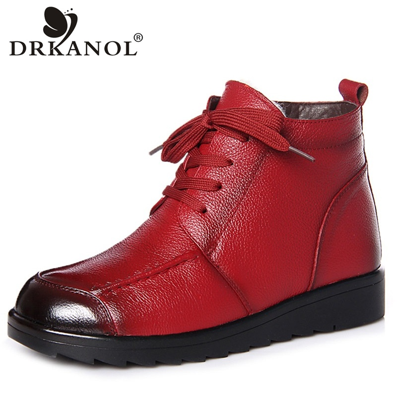 DRKANOL 2018 Genuine Cow Leather Women Ankle Boots Lace Up Round Toe Natural Wool Snow Boots Women Winter Warm Flat ShoesDRKANOL 2018 Genuine Cow Leather Women Ankle Boots Lace Up Round Toe Natural Wool Snow Boots Women Winter Warm Flat Shoes