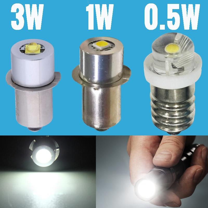 E10 P13.5S светодиодный чип-лампочка 3В 6В 9В 12В фокусирующий фонарь, светильник для вспышки, запасной светильник 3 Вт 1 Вт 0,5 Вт