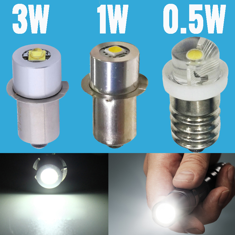 E10 P13.5S LED Chip Bulb  3V 6V 9V 12V Focus Torch Flashlight Flash Light Replacement 3W 1W 0.5W Spot Lamp