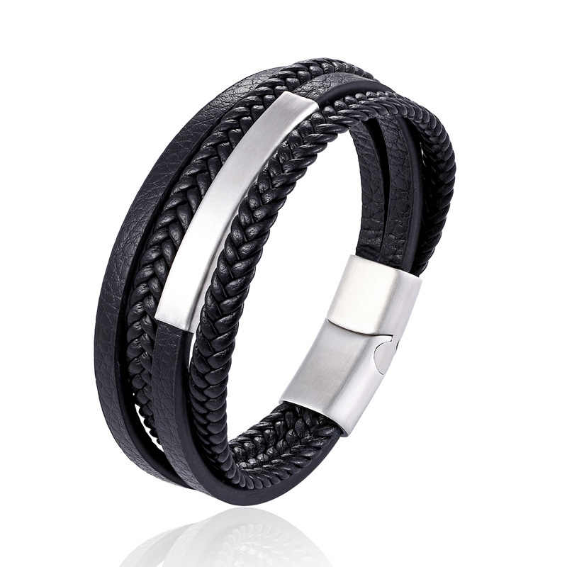 2019 New Design Multi-layers Handmade Braided Genuine Leather Bracelet & Bangle For Men Fashion Stainless Steel Bangles Jewelry