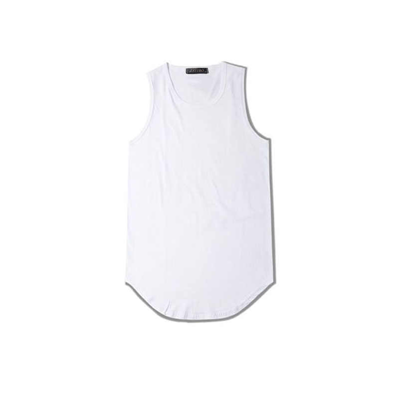 Streetwear Tanpa Lengan Musim Panas Diperpanjang Swag Tank Top Hem Melengkung Panjang Atasan Hip Hop Perkotaan Kosong Rompi TX151-R
