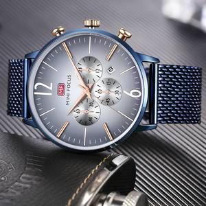 Image 3 - ミニフォーカストップ高級クロノグラフメンズスポーツ腕時計男性クォーツアナログ日付時計男性ステンレス鋼ストラップ腕時計