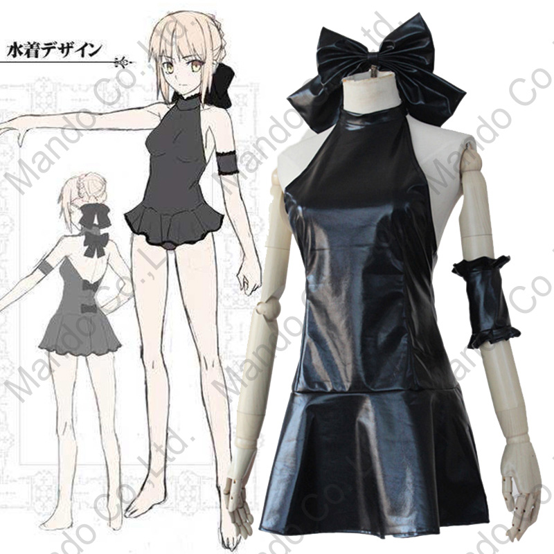 Anime Fate Hollow Ataraxia Saber Cosplay Costumes Girls Sexy Black PU Dress Women Halloween Cosplay Swimwear Outfit