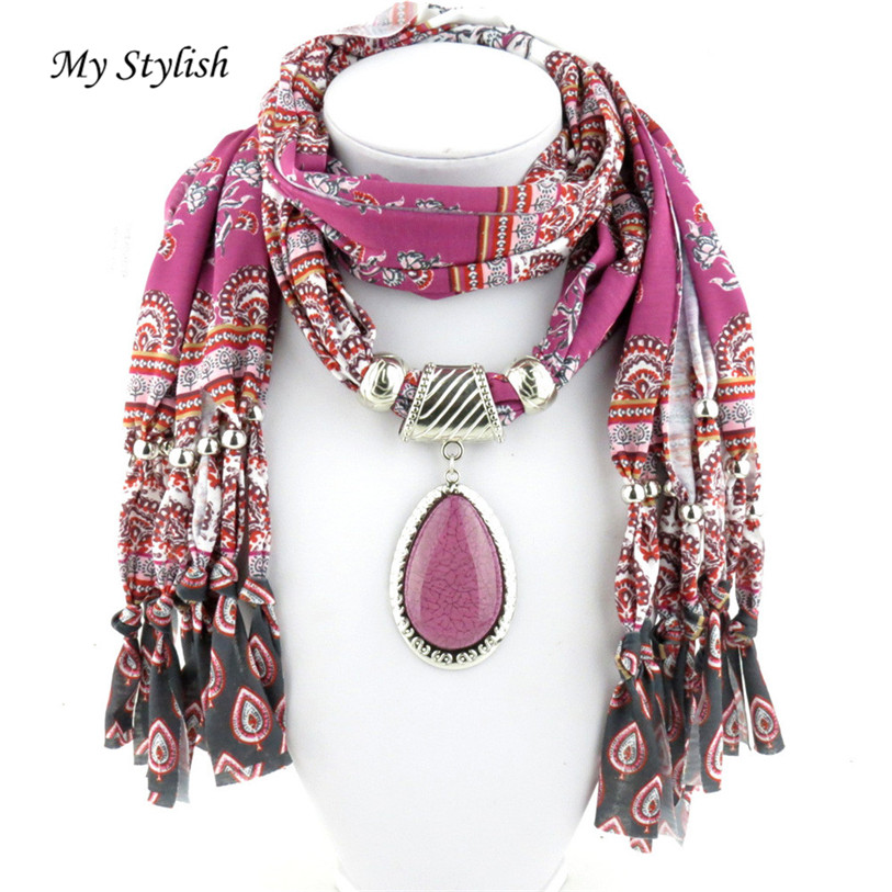 Mi elegante mujer colgante bufanda con borla rhinestone joyería ...