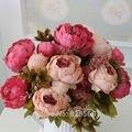 HIGHT Qualidade 1 Buquê de Flores Flores Artificiais flor de seda Europeia Queda Vívida Peônia Falso Partido Home Decoração Do Casamento Da Folha