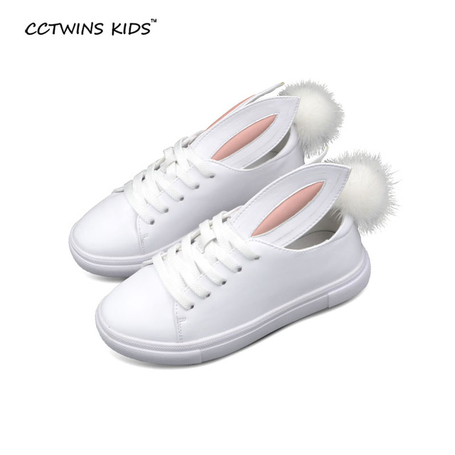 2016 autumn baby girls bunny cartoon shoes children pu leather sneakers  kids white sneakers toddler platform sneakers fur ball c2874bdb91c2