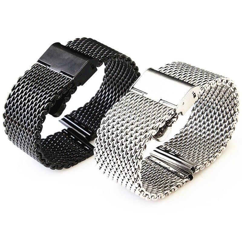 Großhandel 10 Teile/los 18 MM, 20 MM, 22 MM 24 MM Edelstahl uhrenarmband Armbänder Strap splitter und schwarz WBS0099-in Uhrenbänder aus Uhren bei  Gruppe 1