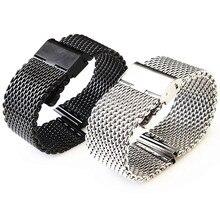 Vente en gros 10 pièces/lot 18 MM, 20 MM, 22MM 24MM en acier inoxydable bracelet de montre bracelet de Bracelets bracelet argent et noir WBS0099