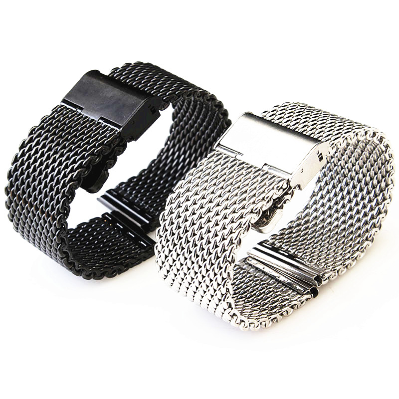 Wholesale 10PCS/lot 18MM ,20MM ,22MM 24MM Stainless Steel Watch band Watch strap Bracelets Strap sliver and black -WBS0099 watch band 22mm new mens black pure polished solid stainless steel watch bands strap bracelets free shipping