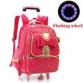 Girl's Flashing Wheels School Bag Bow Girls Backpack Trolley Bag Travel Bags Girls School Bags Nylon Satchel Free Shipping D010