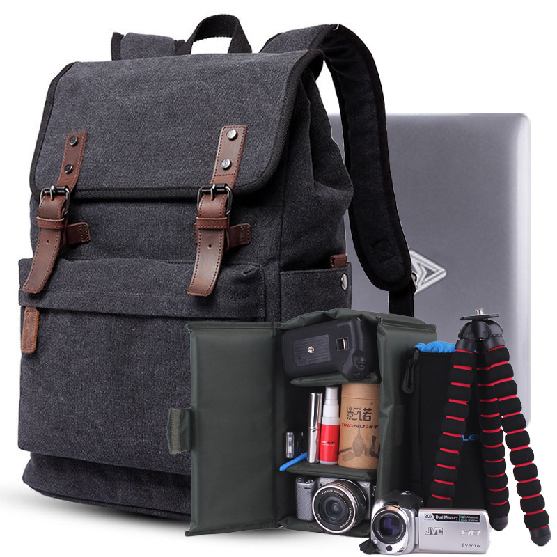 SLR Camera Bag Retro Photography Backpack Canvas Large Capacity Backpack FOR Canon Nikon Sony fly leaf camera bag backpack anti theft camera bag with 15 laptop capacity for dslr slr camera