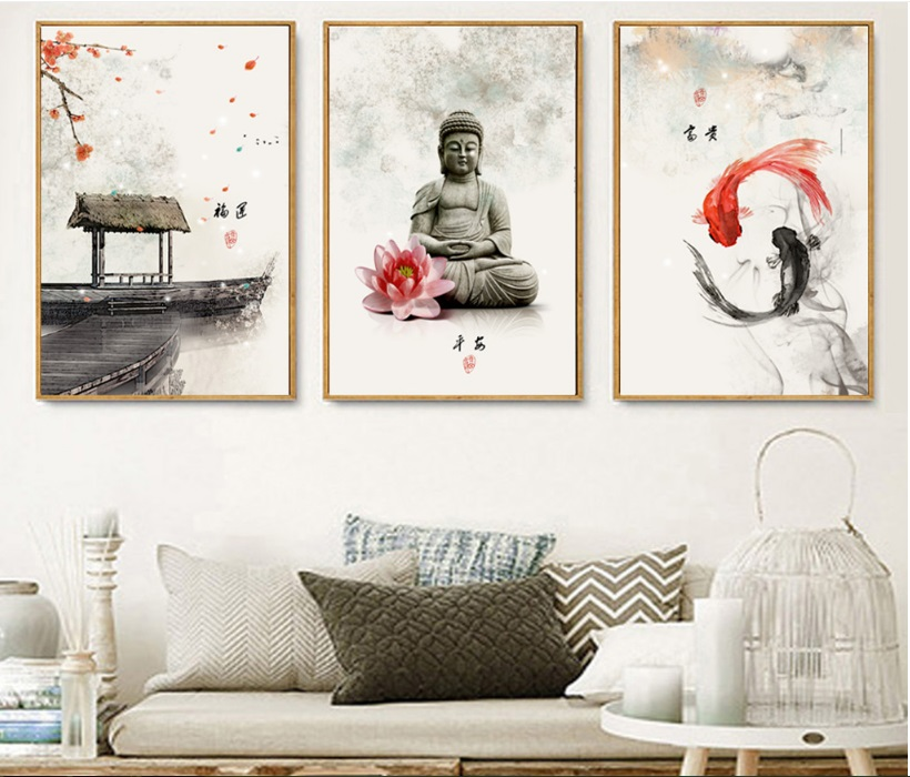 New-Chinese-ink-Flowers-Buddha-3-Pieces-Wall-Art-Print-Picture-Canvas-Painting-Poster-for-Living (2)