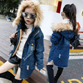 New winter girl children denim jacket + thick velvet jackets big female for 4-14 year long warm the cold winter coat