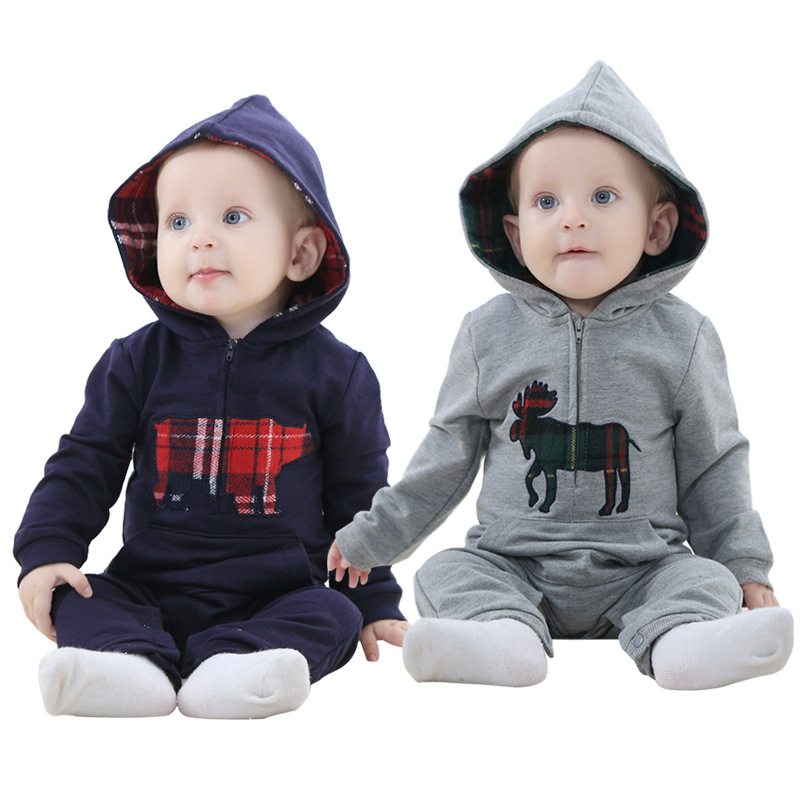 The spring and autumn baby clothes trade baby Onesies suit newborn hooded creeper factory direct sales