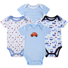 4 Pack Baby Boy Bodysuits with Short Sleeves Soft Cotton Snap Buttons 4-9 Months