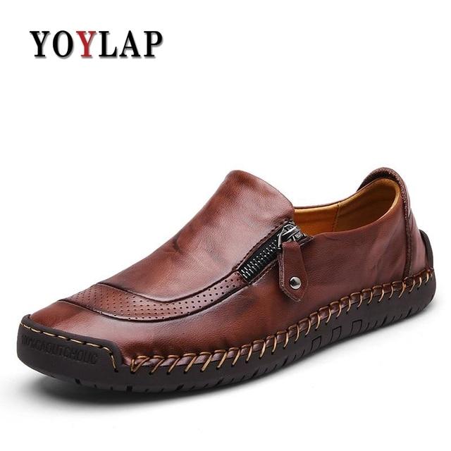 2018 de la alta calidad hecha a mano zapatos de cuero genuino hombres de lujo suave pisos para hombre mocasines casuales Zip Mens mocasines