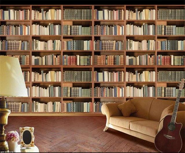 3d Photo Wallpaper Custom Room Mural Non Woven Sticker Literature Art Bookcase Bookshelf Painting TV