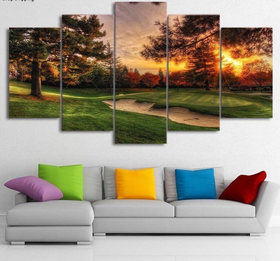 Large Framed Original art print poster canvas Golf Course Sunset Green 5 pieces