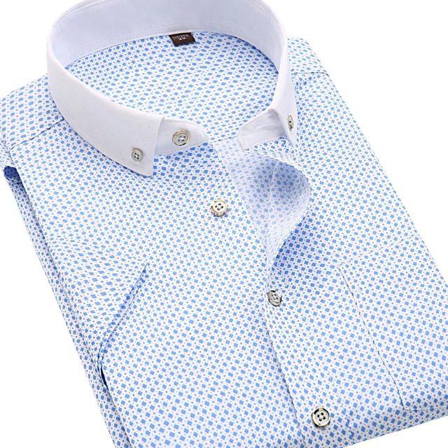 Marca Hombres de la Camisa de Manga Corta de Lunares Camisa Masculina de Los Hombres clothing casual camisa de los hombres de impresión camisa de vestir slim fit nuevo 2017