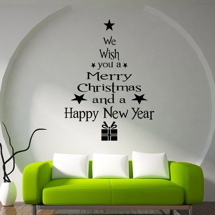 Big Size Happy New Year Christmas Tree Wall Sticker Greetings Quote Stars  Gifts Wall Decal Living Room Home Decor Window Art M20 In Wall Stickers  From Home ...