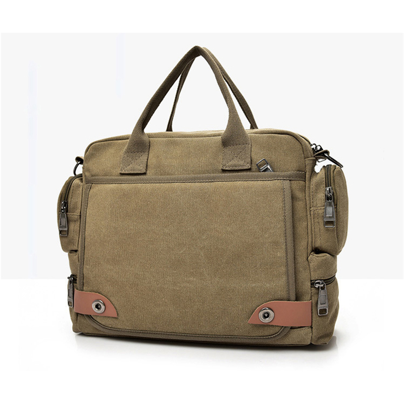laptop bag canvas zipper one shoulder casual A4 ipad solid khaki for dell hp acer apple macbook air 13 bag travel notebook case
