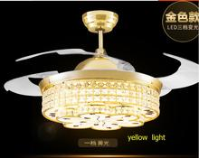NEW 3 colors remote control k9 crystal ceiling fan restaurant electric lamp simple household bedroom living room