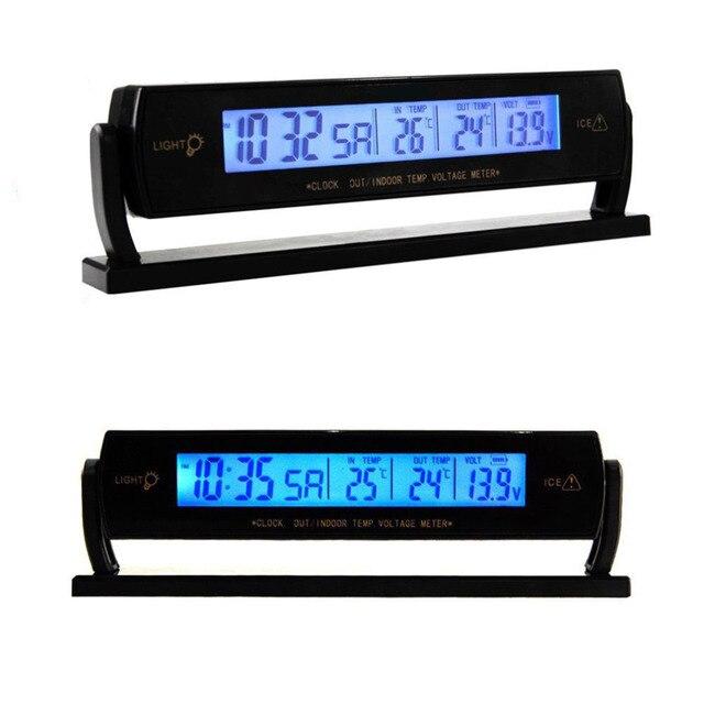 6bb865c1b95 2018 Multifuncional Auto Carro Preto Tensão Relógio Digital LCD Car  Termômetro do Alarme do Calendário Relógio