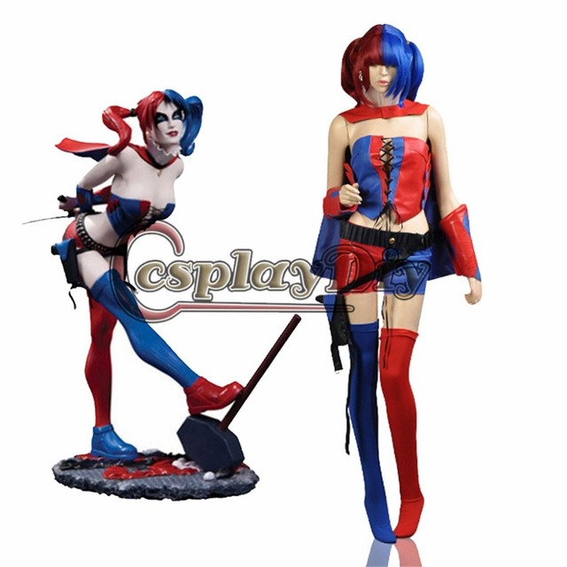 328f05017ed9 DC Comic New 52 Harley Quinn Costumes Blue and Red Suicide Squad Cosplay  Outfit Halloween Costumes for women Custom Made