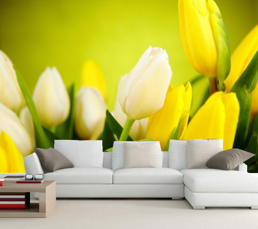 Custom Tulips Yellow Flowers wallpaper papel de parede,livng room tv sofa wall bedroom mural wallpaper 3d large murals 3d mural papel de parede purple romantic flower mural restaurant living room study sofa tv wall bedroom 3d purple wallpaper