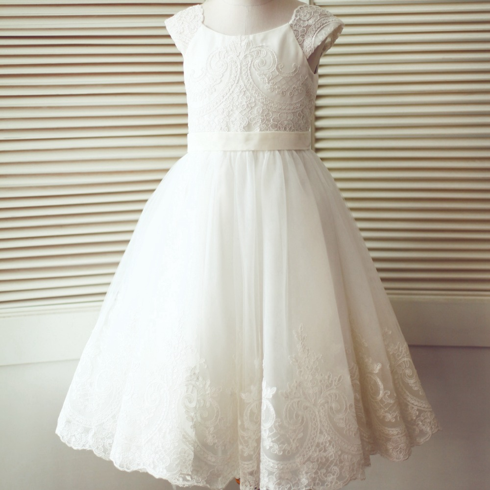 LAN TING BRIDE A-Line Tea Length Flower Girl Dress Lace Tulle First Communion Short Sleeves Scoop Neck with Buttons