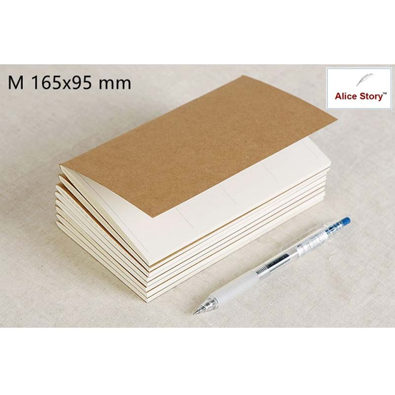 Alice Story M Size 165X95Mm Traveler'S Notebook Refill Replace Notebook (17X10Cm) Spiral Loose Leaf Cowhide Diary Journal
