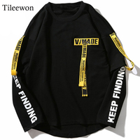 2019 T shirt Streetwear Men 3d Shirt Printing Letter Ribbon Harajuku Cotton Long Sleeve Punk T Shirt Fashion Casual Tops Tees
