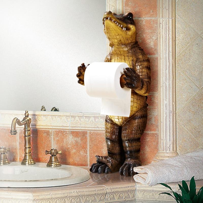 Bathroom Towel Rack Creative European Bathroom Toilet Roll Holder Paper Cassette Holder Resin Crocodile Pumping Tray