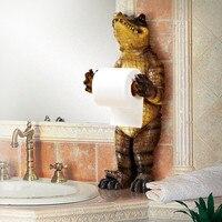Bathroom Towel Rack Creative European Bathroom Toilet Roll Holder Paper Cassette Holder Resin Crocodile Pumping Tray Decoration
