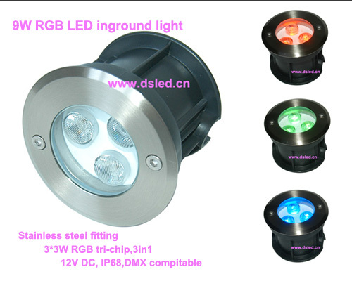 Free shipping !! DMX compitable,high power 9W RGB LED inground light,LED Recessed light,DS-11S-05-9W-RGB,12V DC,Stainless steel