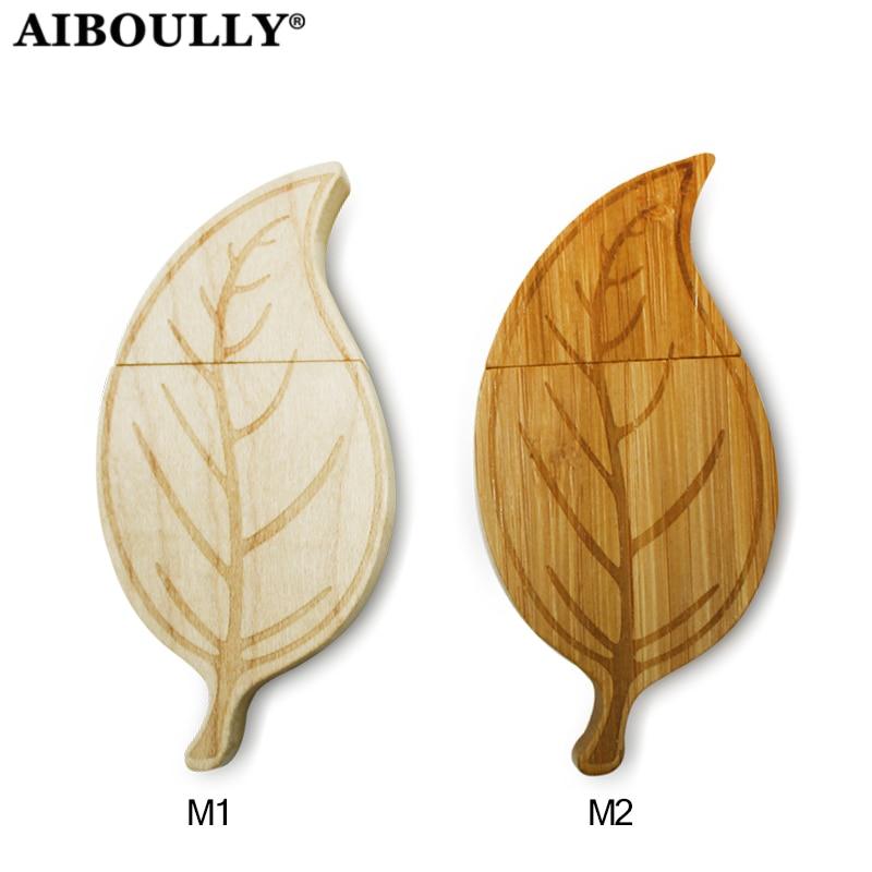 (OVER 10 PCS FREE LOGO) Wooden Leaf Usb Drive Usb Stick Leaves Pen Drive Memory Stick Pendrive 4GB 8GB 16GB 32GB 64GB Wood Usb