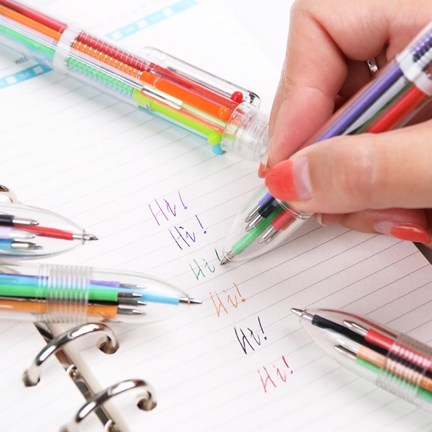 1pcs 6 in1 Ballpoint Pen Multi Color Ball Pen School Pen Korean Stationary Pens Office school supplies Accessories