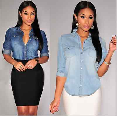 c75a3d382fb6 € 6.75 20% de DESCUENTO|Aliexpress.com: Comprar Camisas de mezclilla de  manga larga de mezclilla azul para mujer Blusas Camisa femenina moda 2016  ...
