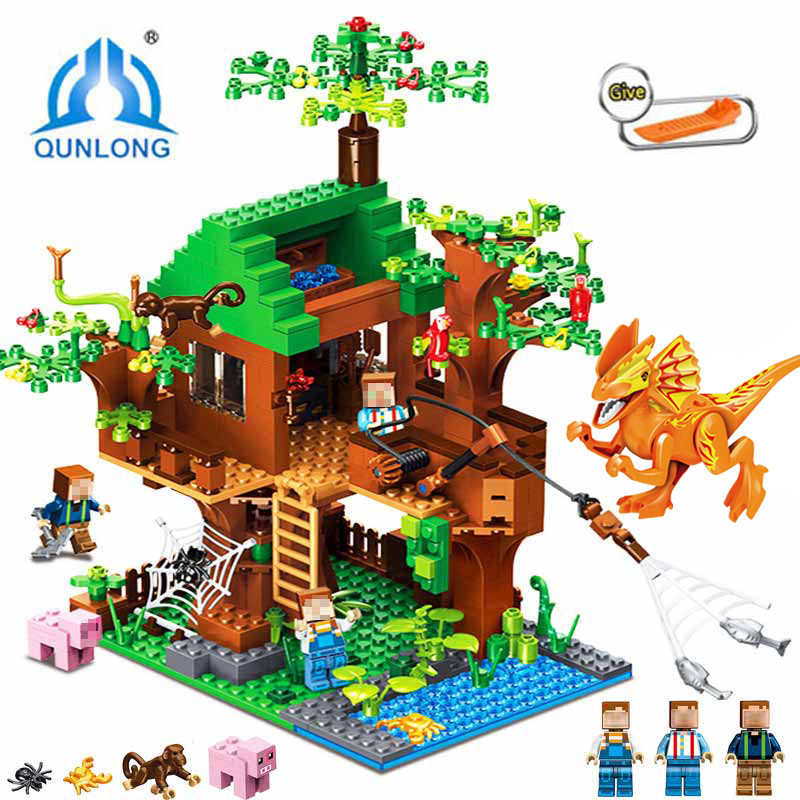 Qunlong Town Group Building Blocks My World Dinosaur Figures Bricks Educational Toys For Kid Compatible LegoINGYS Minecraft City цена