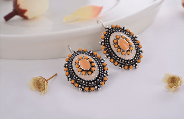 2 Colors Ethnic Vintage Silver Plated Enameling Blue Beads Charms Statement Clip on Stud Earrings for Women Girl Jewelry