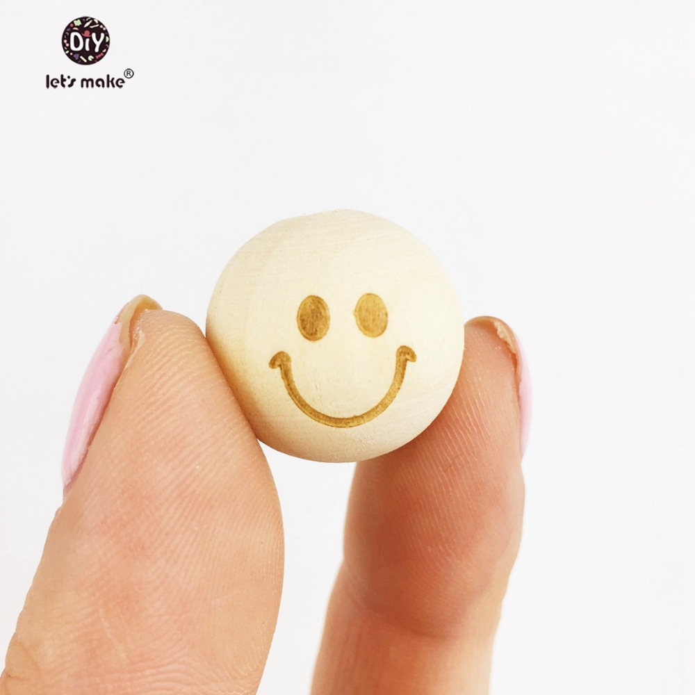 Let's Make 20mm Round Wooden Beads Smiling Face - Unfinished 20pcs Necklace Baracelet Baby Teether Wooden Teething Beads Teether