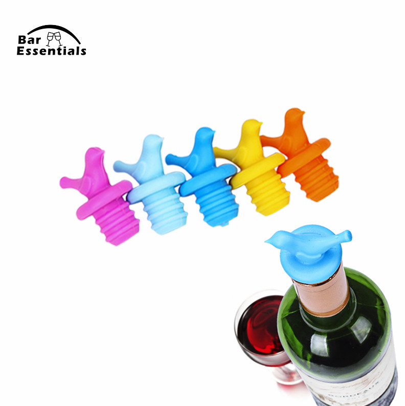 12Pcs Creative Bird Design Silicone Wine Stopper Bottle Caps Wedding Gift Wine Pourer Stoppers