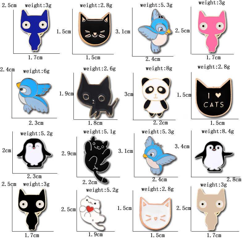 Kualitas Tinggi Lucu Koleksi Kucing Burung Panda Punguin Aku Cinta Kucing Bros untuk Wanita Wanita Pria Perhiasan Pin Logam Enamel kerah Pin