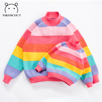 2019 Spring New Korean Version Semi high Collar Rainbow Family Matching Outfits Mother and Son/daughter Sweater Striped