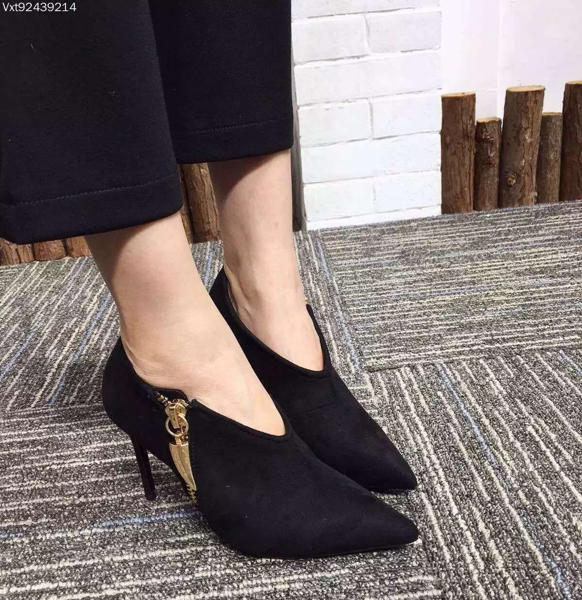 ФОТО Sexy Women Boots Side Zipper Pointed Toe Ankle Boots Suede Thin High Heel Winter Autumn Shoes New Design 9cm Boots with Zipper