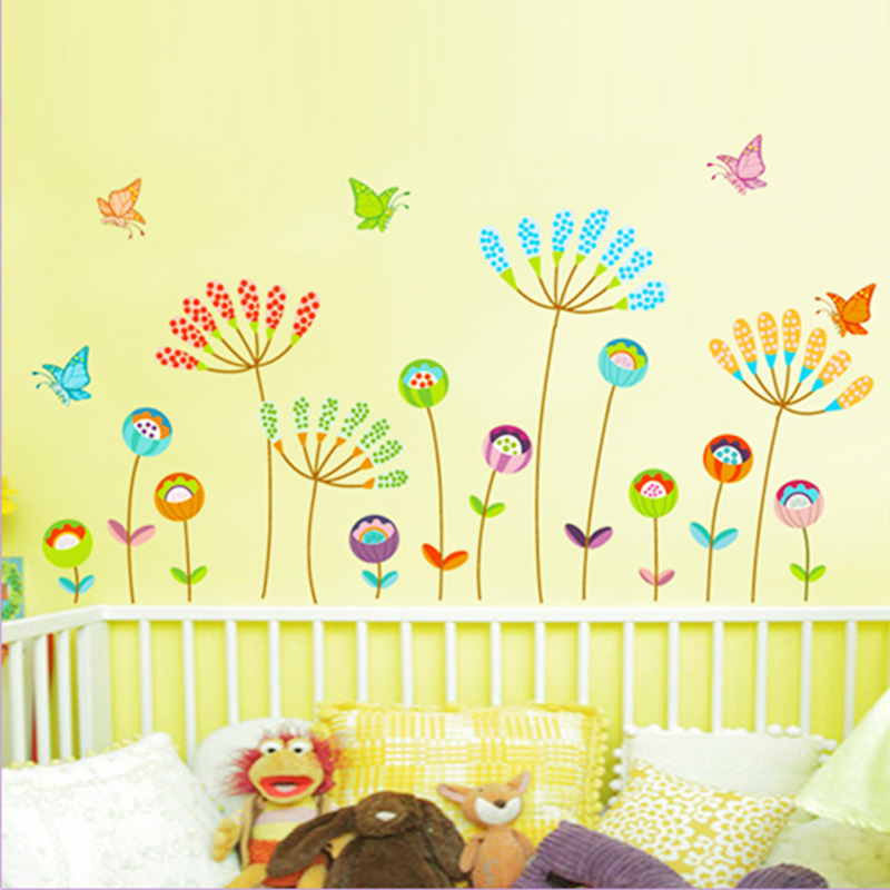 ᐅcreative flowers butterfly pvc wall art decals bedroom living room ...