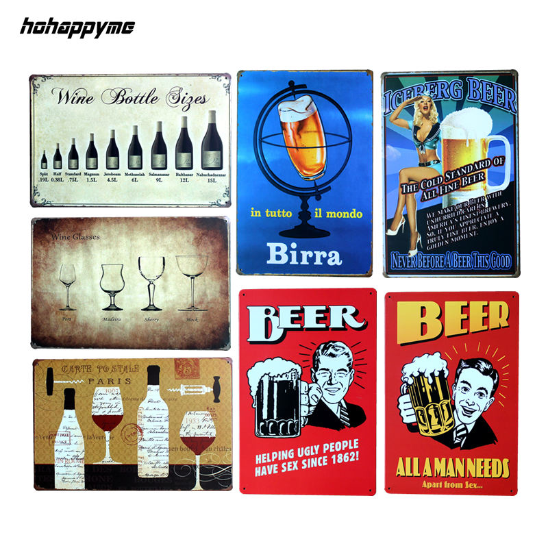Vintage Home Decor Beer Bar Metal Sign Bottle Vintage Tin Sign Modern Home Decoration Metal Wall Art 20*30 CM